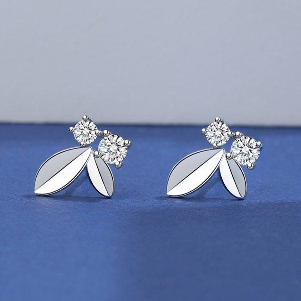 925 Sterling Silver Diamond Set Zircon Earring Women's Fashion Silver Ol Korean Style Leaves Small Earring  Mle2112