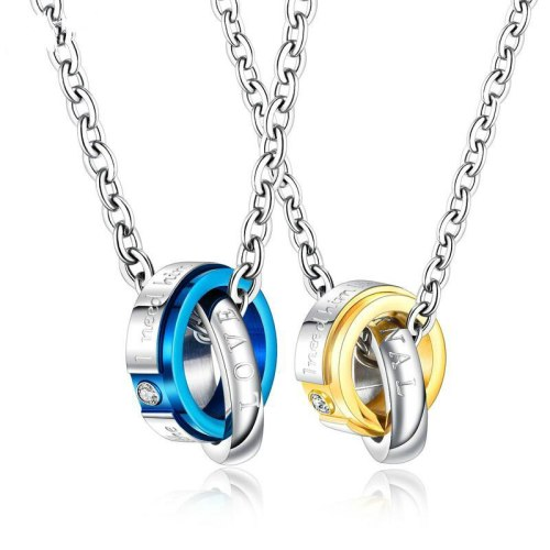 Couple Necklace Jewelry Wholesale Fashion Stainless Steel Double Ring Diamond Set Pendant Titanium Steel Couple Necklace Gb1616