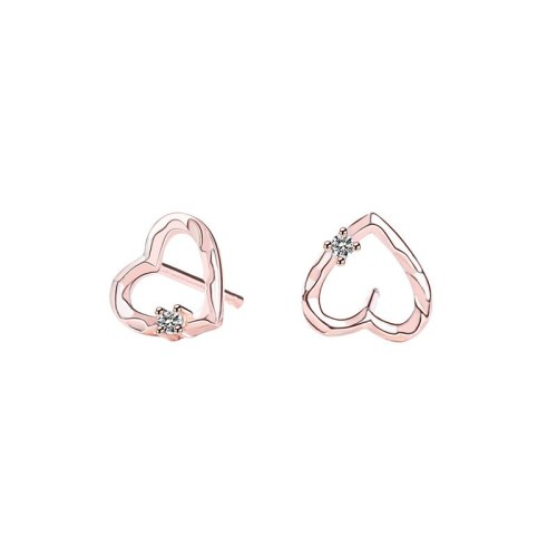 S925 Sterling Silver Stud Earring Simple and Versatile Hollow Heart-Shaped Micro Pave Zircon Earrings Accessories MLE1815