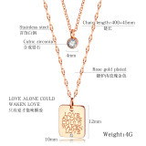 Hot Selling Lettering Square round Double Layer Titanium Steel Clavicle Chain Women's Stainless Steel Necklaces Gb1588