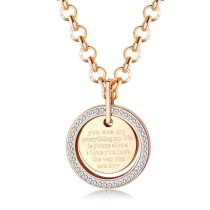 Creative Stainless Steel Pendant Fashion Diamond Set Letter Geometric Round Necklace Titanium Ornament Gb1579