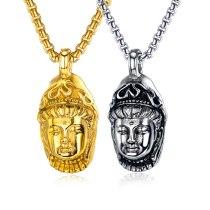 Titanium Steel Three-dimensional Carved Buddha Pendant Retro Religious Pendant Cool Stainless Steel Men Necklaces Gb1599