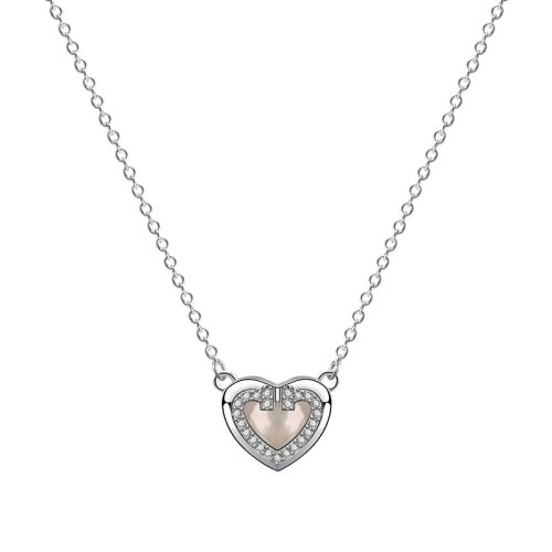 S925 Sterling Silver Lovely Necklace Women's Fashion Retro Korean Diamond Set Zircon Heart-Shaped White Clavicle Chain Mla1905