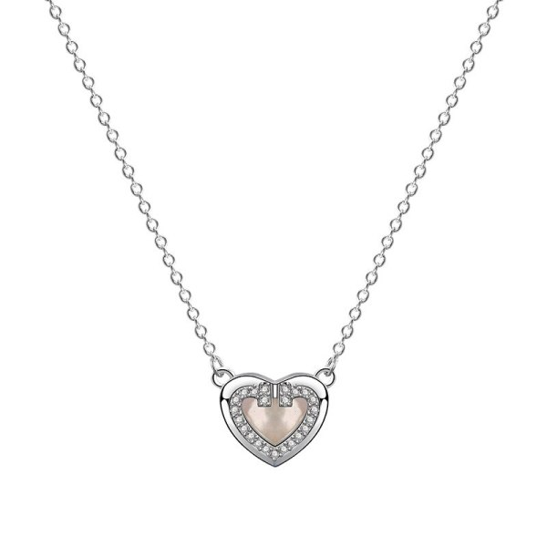 S925 Sterling Silver Lovely Necklace Women's Fashion Retro Korean Diamond Set Zircon Heart-Shaped White Clavicle Chain Mla1905