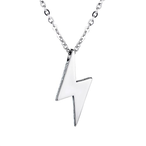 New Stainless Steel Necklace Men's Titanium Steel Pendant Retro All-match Lightning Necklace Cool Ornament Wholesale Gb1690