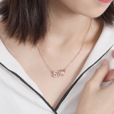 S925 Sterling Silver Necklace Rose Gold Micro Pave Zircon 520 Silver Necklace Female I Love You Romantic Gift Mla1536