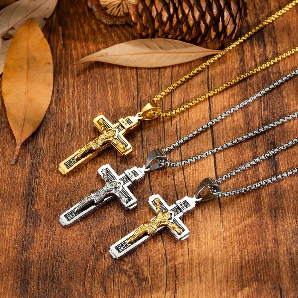 Stainless Steel Necklace Vintage Religious Ornament Wholesale Classic Jesus Cross Stainless Steel Necklace Gb1626