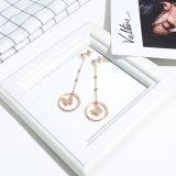 Korean Style New Cool Double Circle Earring Tassled Chain Beads Titanium Steel Earrings Rose Gold Stud Earring Female Gb563