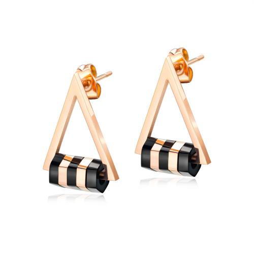 European Elegant Geometric Triangle Stud Earring Cool Short Ear Stud Rose Gold Titanium Steel Women's Earrings Gb561