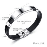 Simple Smooth Stylish Guy's Hand Jewelry Cool Lettering Bracelet Titanium Steel Men's Silicone Bracelet Bangle Gb1363