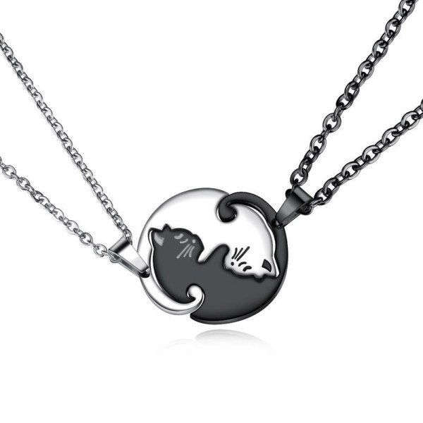 Korean Style Stainless Steel Necklace Cool Stitching Pair of Kitten Hug Necklace Simple Couple Titanium Steel Pendant Gb1597
