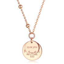 Rose Gold Necklace Forever Love Double Layer Necklace Stainless Steel round Pendant Clavicle Chain Gb1578