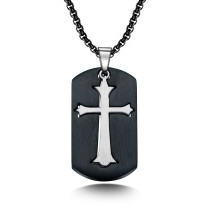 Stainless Steel Necklace Cool Geometric Square Cross Stainless Steel Pendant Titanium Steel Men's Necklace Gb1595