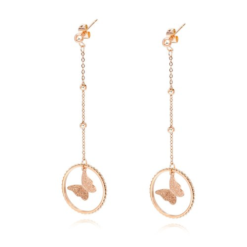 Korean Style New Cool Double Circle Earring Tassled Chain Beads Titanium Steel Earrings Rose Gold Stud Earring Female Gb563