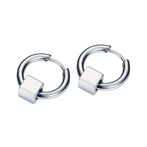 Korean Fashion Popular Men's Titanium Steel Earrings Hip-hop Punk Circle Geometric Ear Stud Gb595