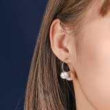 S925 Sterling Silver Pearls Stud Earring Women's Fashion Korean Round Bead Ear Pendant Small Bling Silver Earrings MLE2035