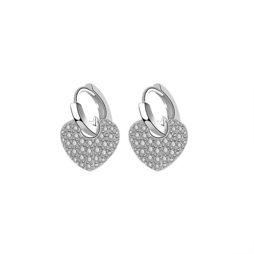 S925 Sterling Silver Lovely Earrings Ins Fashion Retro Korean-Style Diamond Set Zircon Heart-Shaped Stud Earrings Gb2100