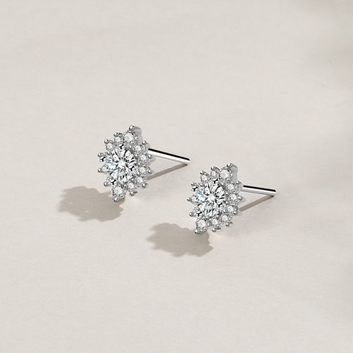 925 Sterling Silver Ear Stud Women's Fashion Retro Korean Zircon Small Ear Stud Silver Mle2075
