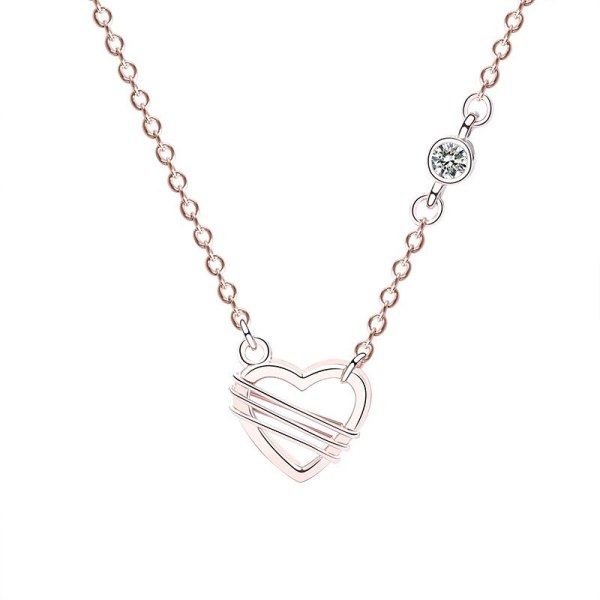 S925 Sterling Silver Necklace Jewelry Women's Korean-Style New Heart-Shaped Necklace Romantic Diamond Set Necklace Mla418a