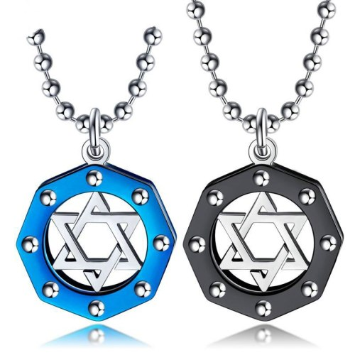 Wholesale Fashipin Cool Hollow Stainless Steel Vintage Pendant Titanium Steel Hexagon Star Men's Necklace Gb1583
