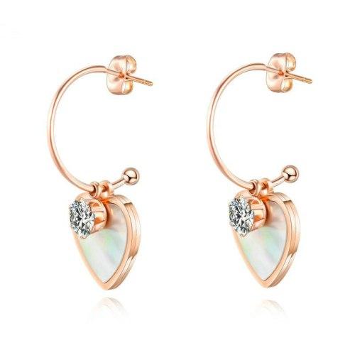Korean-Style Stud Earring Wholesale Stainless Steel Diamond Set Earrings Titanium Steel Lovely Women's Earrings gb564