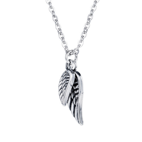 Stainless Steel Necklace Cool Men's Feather Necklace Hip-hop Fashion Titanium Steel Angel's Wings Pendant Gb1691