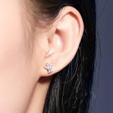 S925 Sterling Silver Zircon Earrings Korean Fashion Diamond Set Small Jewelry Stud earring Silver Christmas Jewelry MLYE0029