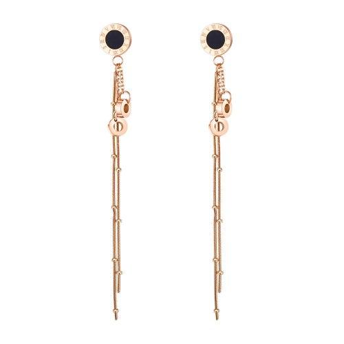 Korean Classic Roman Digital  Long All-match Elegant Stainless Steel Earrings Titanium Steel Tassel Earrings Female gb568