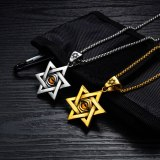 New Titanium Steel Six-Pointed Star Men's Pendant Cool Devil Eye Necklace Stainless Steel Necklace Gift Gb1569