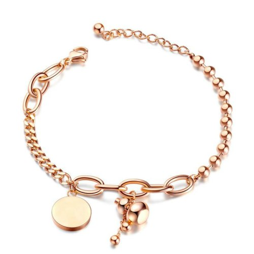 European and American Hot Selling Jewelry Wholesale Fashion Round Gourd Stainless Steel Jewelry Women Titanium Bracelet Gb1034