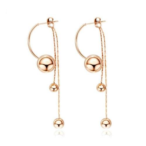 European Smooth Long Beads Earring Simple and Versatile Tassel Women's Earrings Titanium Steel Rose Gold Stud Earring gb560