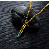 Fashion Glass Perfume Bottle Necklaces Threaded Stainless Steel Colorful Titanium Steel Women and Men Pendant Necklace Gb1584