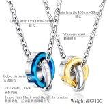Couple Necklace Jewelry Wholesale Fashion Stainless Steel Double Ring Diamond Set Pendant Titanium Steel Couple Necklace Gb1616