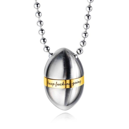 Hot Selling Ornament Men and Women Titanium Steel Necklace Inspirational Phrase Necklace Bullet Perfume Bottle Pendant Gb1525