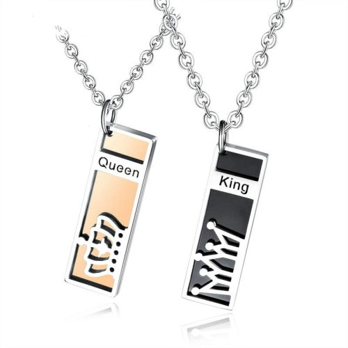 Fashion Ornament King Queen Titanium Steel Couple Necklace Personality Rectangular King Queen Lovers' Pendant Necklace Gb1529