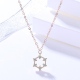 S925 Sterling Silver Ornament Female Korean All-match Hexagonal Necklace Simple Geometric Clavicle Chain Wholesale Mla1623