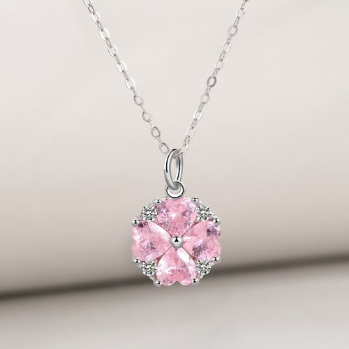 S925 Sterling Silver Necklace Pink Clover of Four Leaves Necklace Female Ins Korean-Style Cherry Blossom Silver Necklace Mla1007
