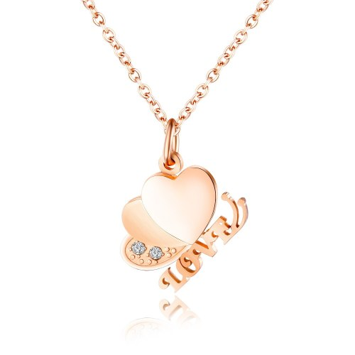 Korean-Style Titanium Ornament Ins Lovely Love Fashion Women's Clavicle Chain Stainless Steel Necklaces Gift Gb1527