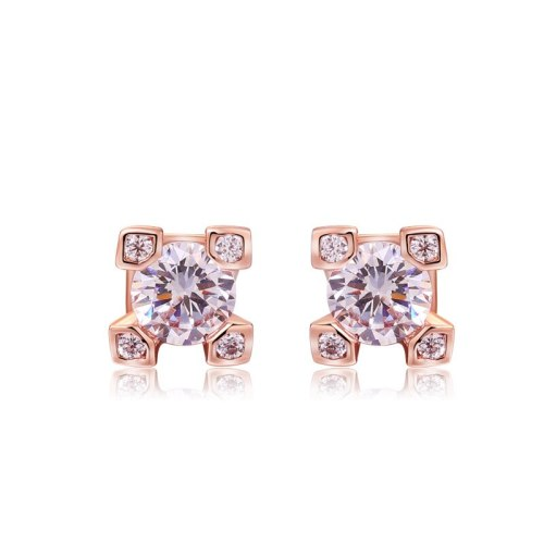 Stud Earring Jewelry Women's Simple and Versatile Zircon Ear Stud 18K Gold Electroplated Earrings 086975