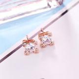 Stud Earring Jewelry Women's Simple and Versatile Zircon Ear Stud 18K Gold Electroplated Earrings 086975