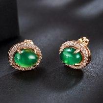 New Fashion Earrings Ear Stud Simple Micro Pave Zircon Oval Ear Stud Natural Pink Crystal Earrings 125695