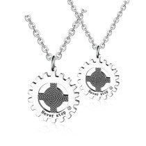 Hot Selling Ornament Titanium Steel Couple Necklace Stainless Steel Cross Gear Inspirational Phrase Inlaid Zircon Pendant Gb1528