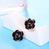 Korean Style Fashion Black Rose Stud Earring Female Earrings Birthday Gift for Girlfriend 320535
