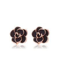 Korean Style Fashion Black Rose Stud Earring Female Earrings Birthday Gift for Girlfriend 320535