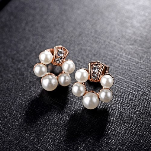 Korean Fashion Small Number Zircon Pearl Ear Stud Sweet Temperament All-match Small Flower Earrings Jewelry Wholesale 85584