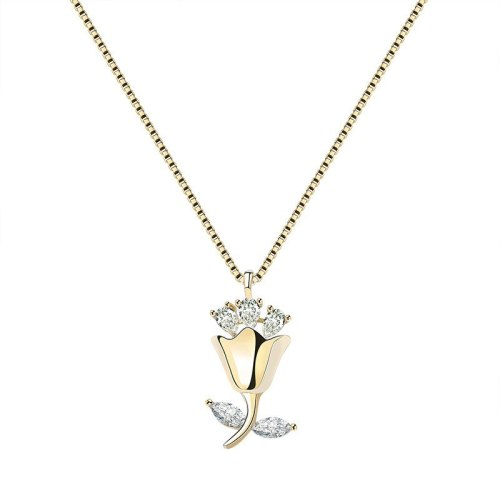 S925 Sterling Silver Necklace Jewelry Female Super Shiny Zircon Necklace Rose Clavicle Chain Gift for Girlfriend Mla1671