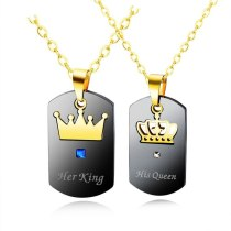 Fashion Ins Titanium Ornament Hot Selling Her King His Queen Crown Couple's Square Necklace Gift Gb1526