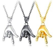 Ornament Cool Design New Titanium Steel Punk Rock Gesture Pendant Vintage Hip Hop Stylish Men Necklace Gb1510