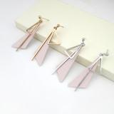 Elegant All-match Triangle Ear Stud Long Tassel Ear Pendant Girl's Ear Stud Cool Simple Jewelry 800084