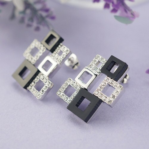 Jewelry Earrings Fashion All-match Korean-Style Ear Stud Earrings Female Black Oil Crystal 18K Gold Rubik's Cube Earrings 84854